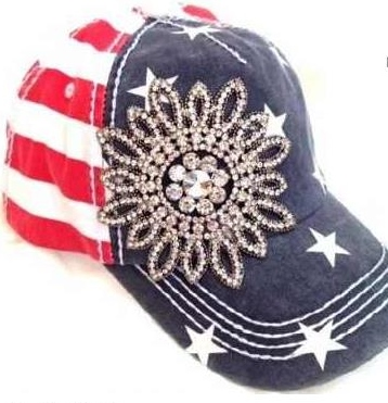 Bring on the BLING Red White and Blue USA Baseball Cap