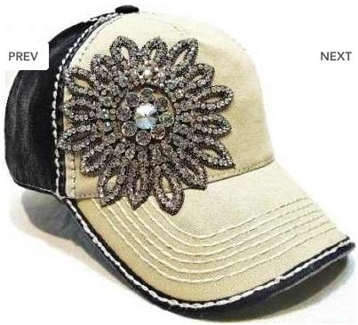 Bring on the BLING Glass Beaded Flower Baseball Cap