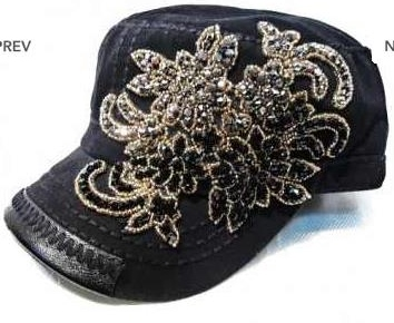 Paisley Flowered Blinged Cadet Hat