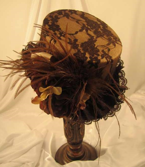 Steampunk Brown Lace Covered Riding Hat with Beige