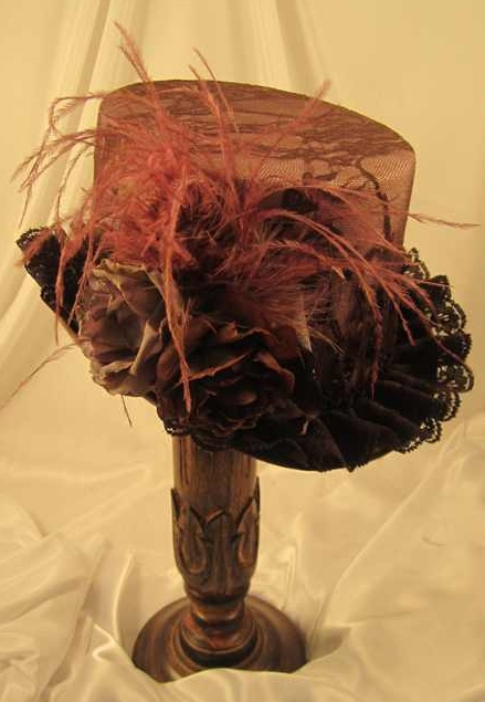Steampunk Brown Lace Covered Riding Hat with Plum