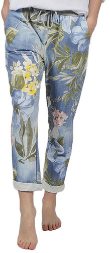 Floral Denim Drawstring Pant