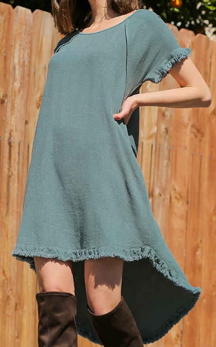 Scallop Fringed High Low Dress with Pockets