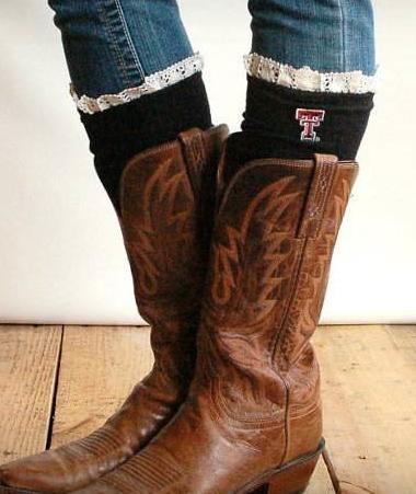 TT (Texas Tech) Lacey Fan Boot Socks