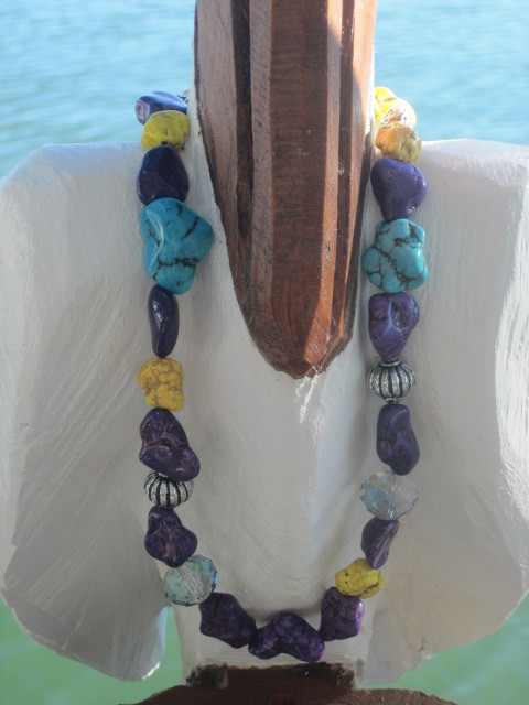 Tropical, Spring and Summer Color Nugget Necklace