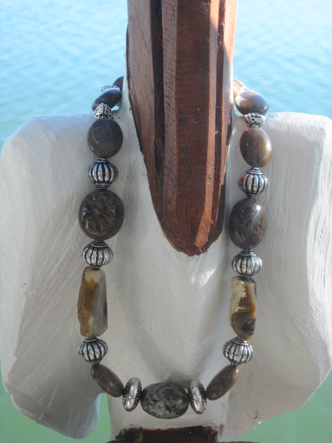 Jasper Bead and Natural Stone Necklace
