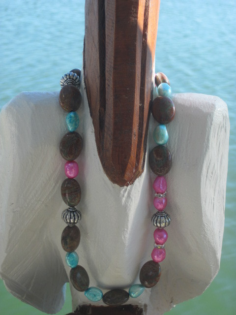 Hot Pink and Aqua Freshwater Pearl Necklace