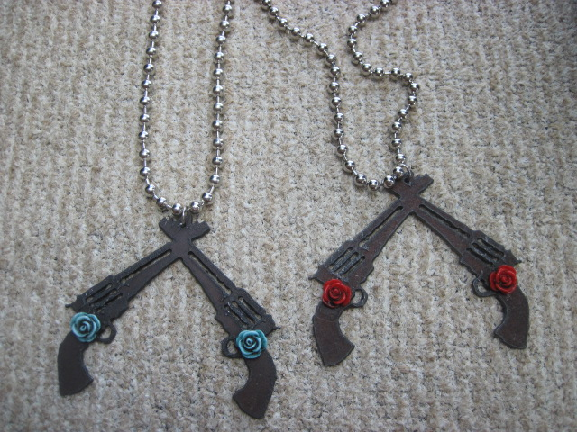 Double Guns and Roses Necklace