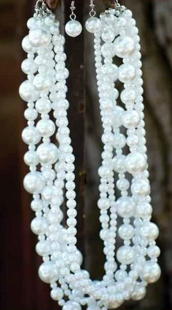 Multi Strand Pearl Necklace and Earrings