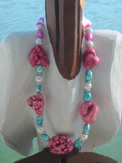 Freshwater Pearl and Pink Nugget Necklace