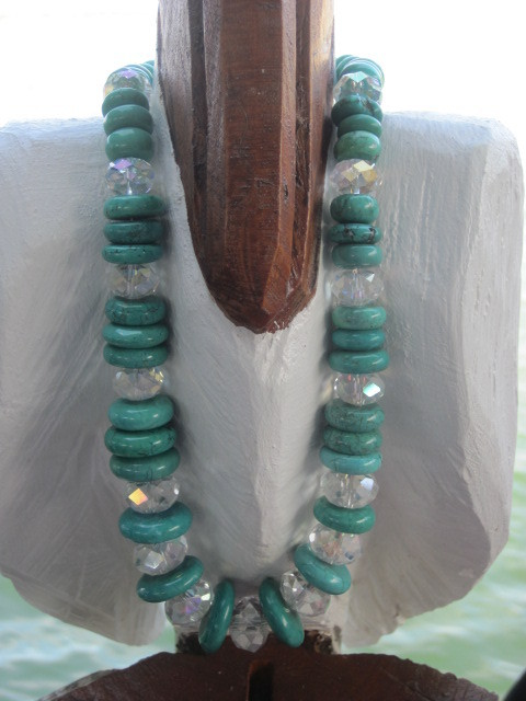 Green Graduated and Crystal Necklace
