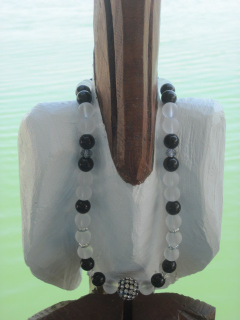 Black and White Beach Glass Necklace with Bling Disco Ball
