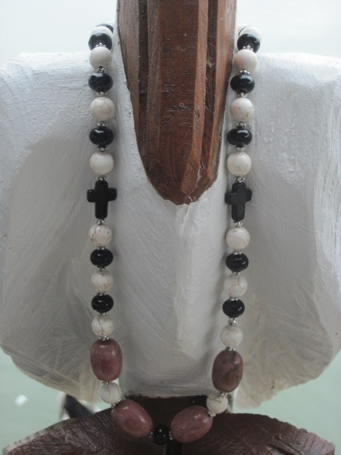Pink Tumbled Stone, black and Off White Cross Necklace