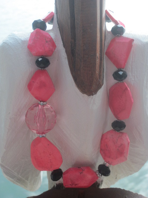 Hot Pink and Black Necklace