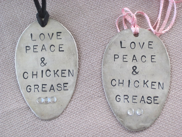 Love Peace and Chicken Grease Hand Stamped Vintage Spoon Pendant Necklace