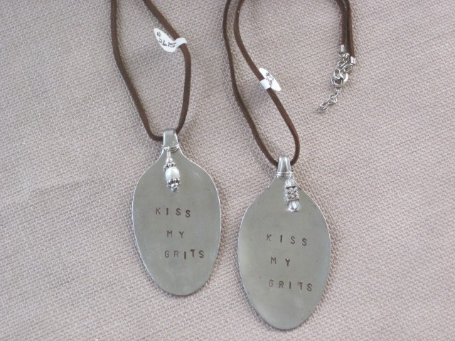Kiss My Grits Hand Stamped Vintage Spoon Pendant Necklace