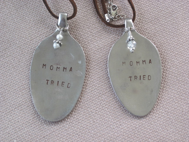 Momma Tried Hand Stamped Vintage Spoon Pendant Necklace