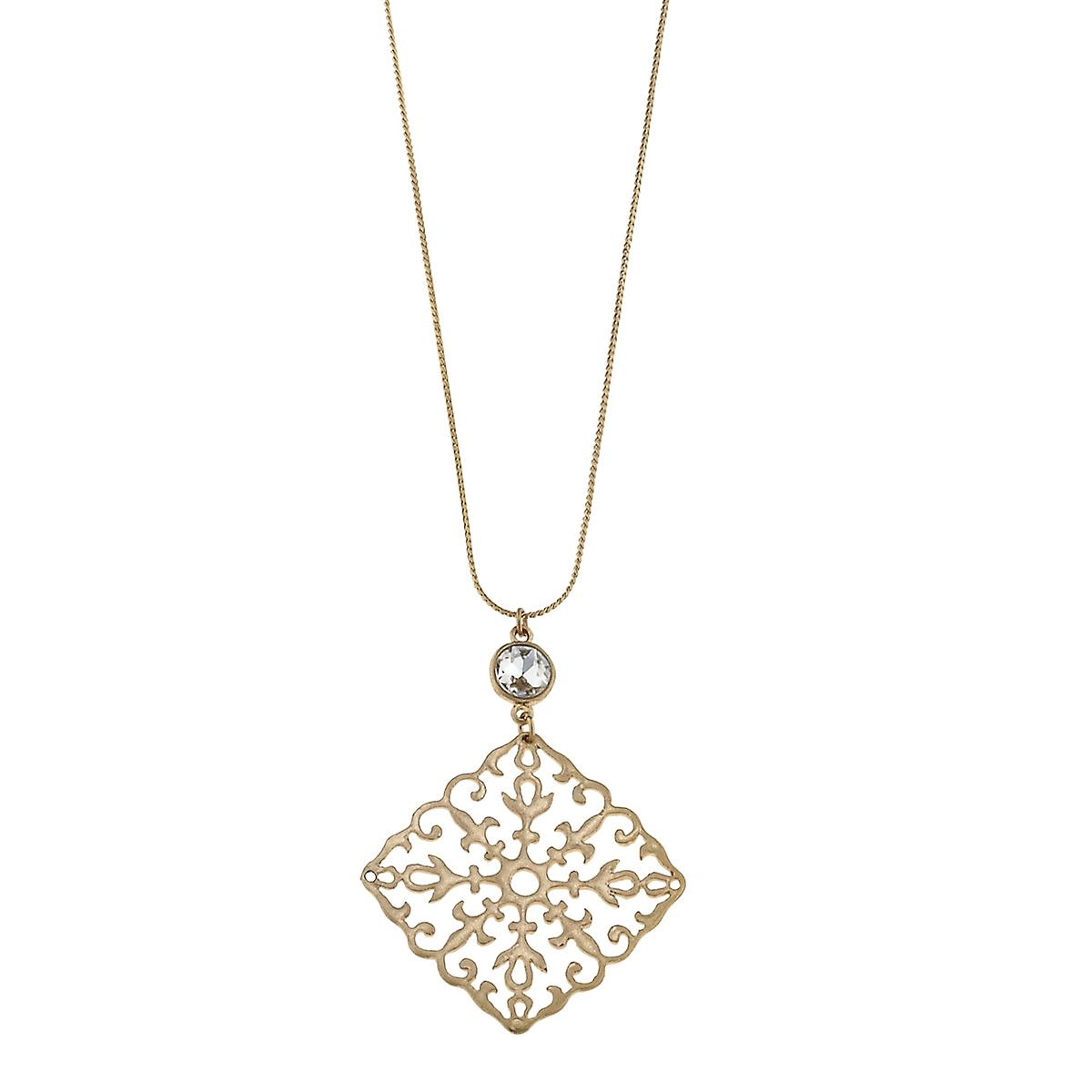 Rhinestone Filigree Slide Chain Necklace