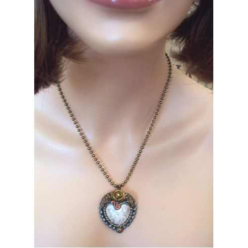 Cherish Vintage Look Heart Necklace