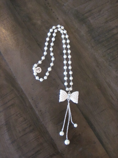 FUN Pearl Bow Necklace by Pink Panache