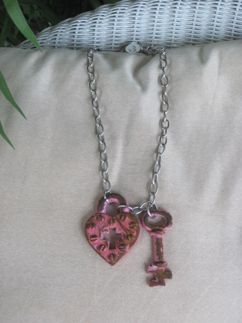 Pink Rusted look Lock and Skeleton Key Necklace