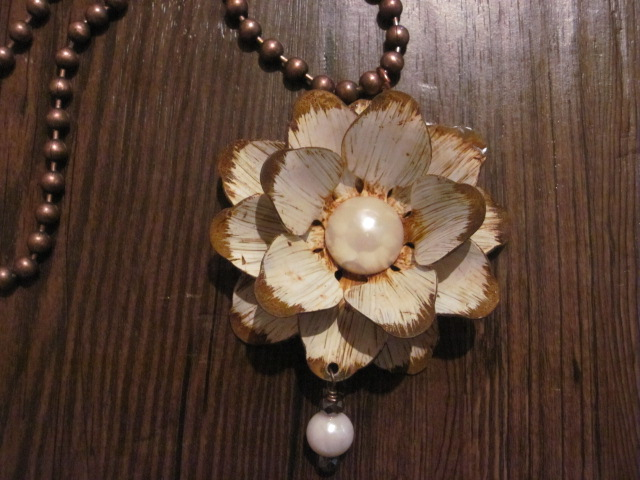 Painted Rustic Looking Flower on Ball Bead Necklace