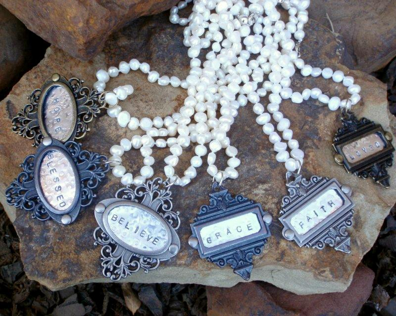 Hand Stamped Wine Charm Pendants on Freshwater Pearl Necklace