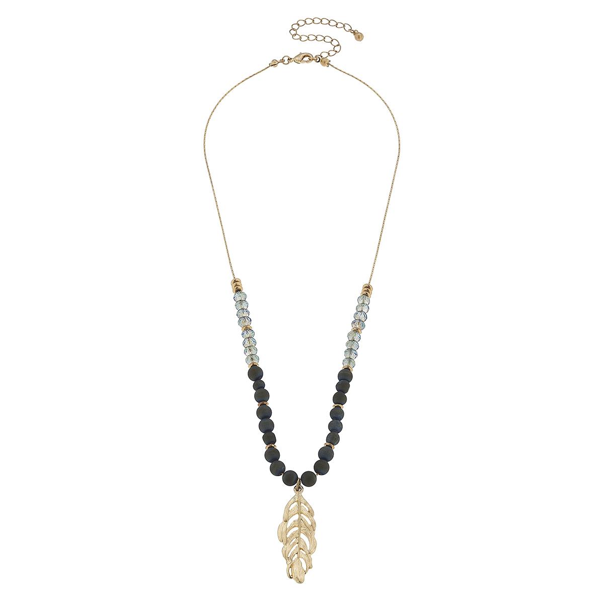 Dark Grey Agate Gemstone and Glass Leaf Necklace
