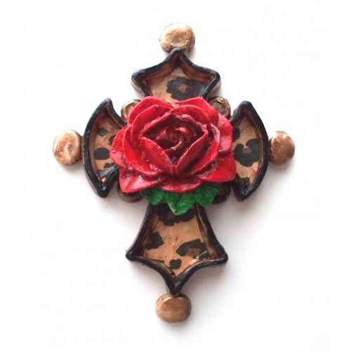 Leopard Fancy Cross and Rose Necklace