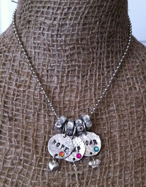 Pink Panache's Hope, Soar, Leap Blinged Charm Necklace