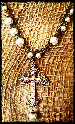 Pearl and Chain Convertible AB Cross Necklace