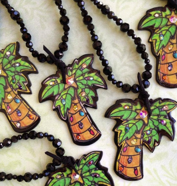 Christmas Palm Tree Blinged Necklace