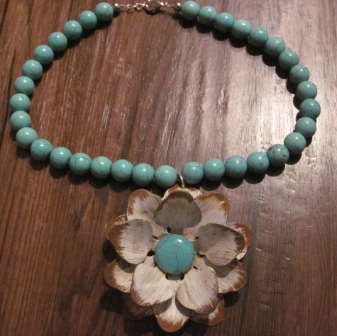 Painted Rustic Look Flower on Turquoise Beaded Necklace