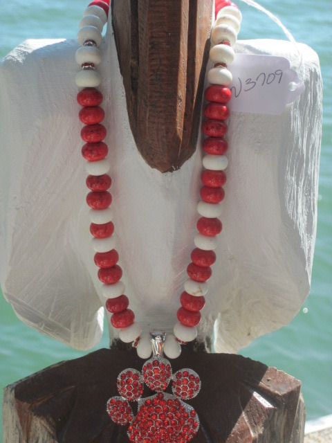 Red Rhinestone Paw Pendant and Red and White Necklace