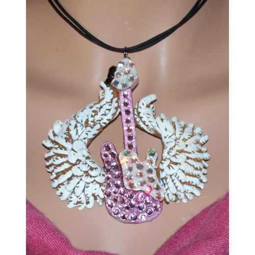 Winged Guitar Necklace