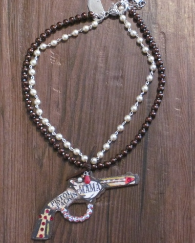 Pistol Packin' Mama Pistol Double Pearl Strand Necklace