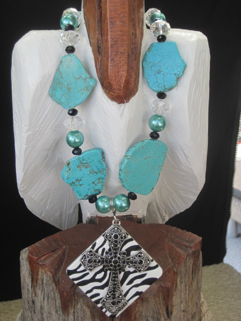 Zebra and Turquoise Necklace