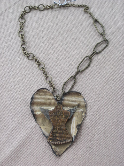 Vintage Tin Heart Pendant Necklace with Woman and Wings Charm Necklace