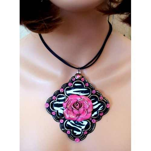Stunning Zebra (diamond shapped) and Pink Rose Necklace