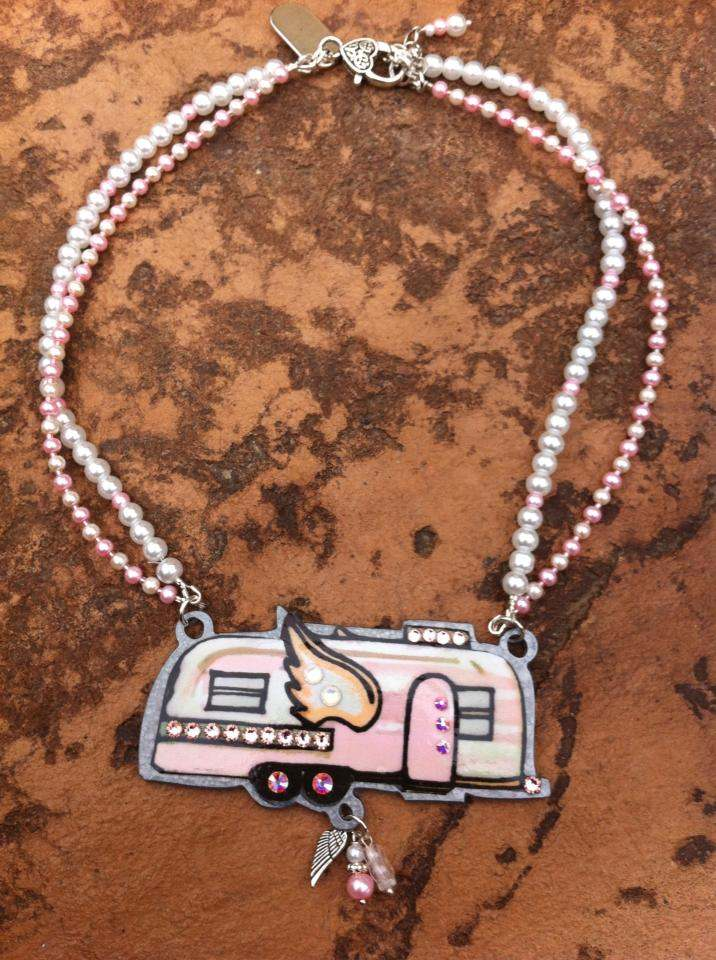 Pink Blinged Trailer Necklace