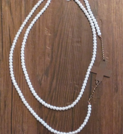 Double Strand Pearl Necklace with Off Centered Cross