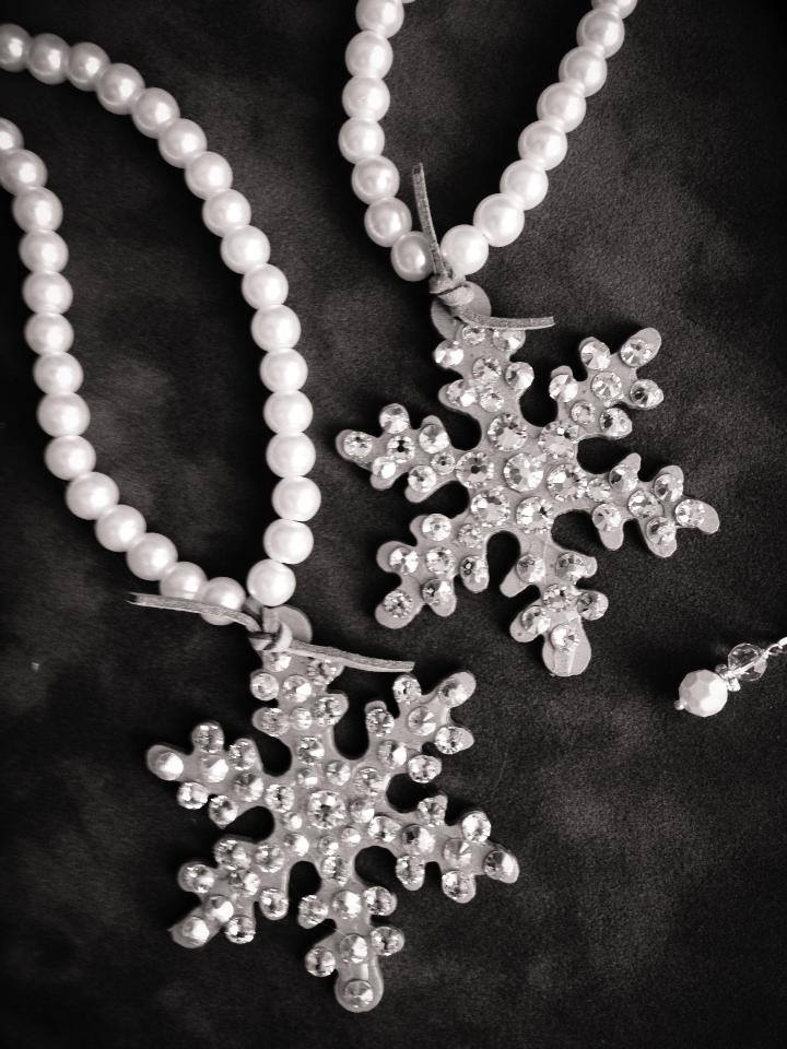 Blinged out Crystal Snowflake Pendant on Pearl Necklace