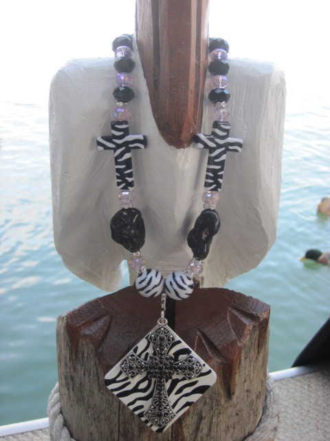Zebra and Cross Necklace