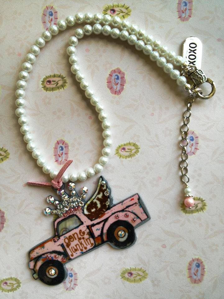 Gone Junkin Truck with Blinged out Crown Necklace