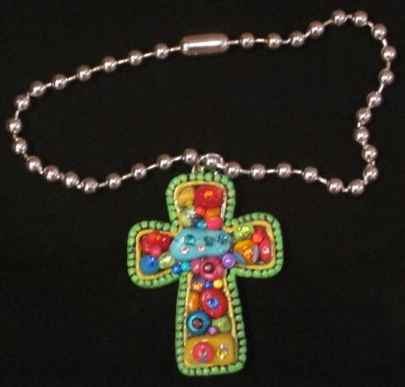 Colorful Stone and Swarovski Cross Necklace