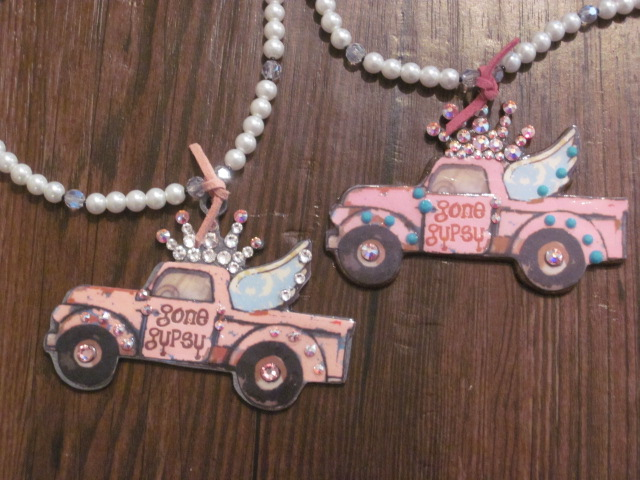Gone Gypsy Pink Truck with Blinged out Crown Necklace