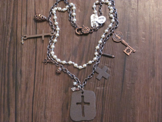 Copper and Pearl Charm Necklace