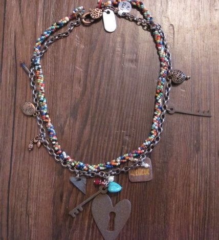 Cute Heart and Key Charm Necklace