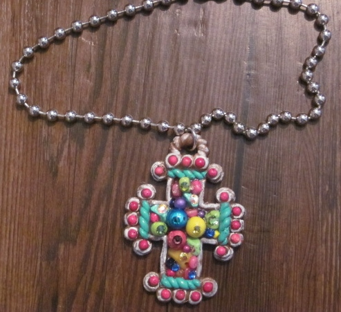 Frilly Cross Swarovski and Beaded Necklace