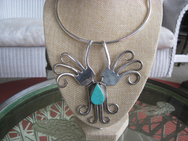 Twisted Fork Necklace with Turquoise Stone